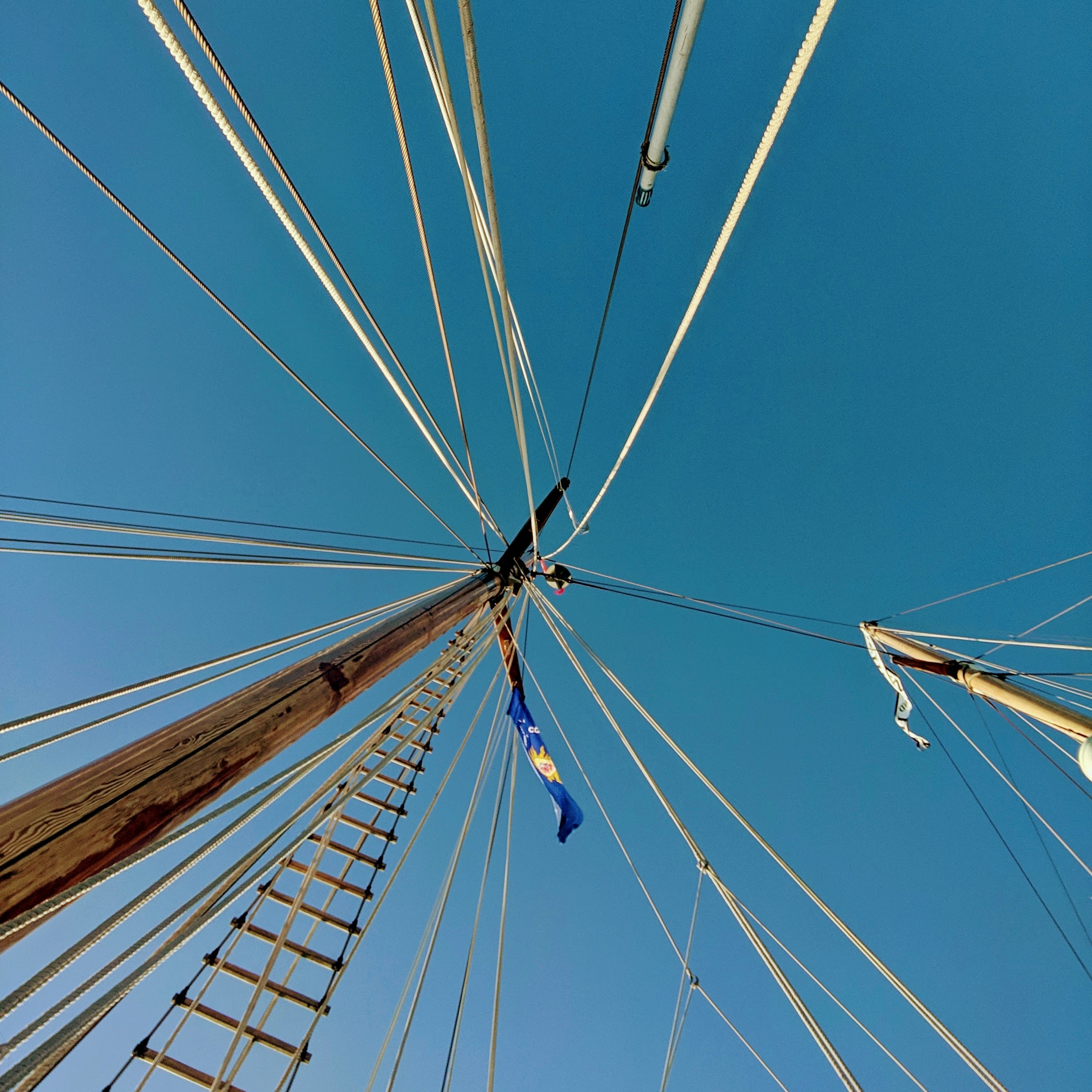Image of a sail boats mast with ropes coming from it. A indistinguishable flag is flown on the mast.
